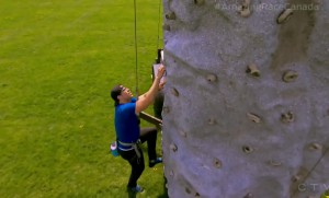 Lowell heads up the climbing wall